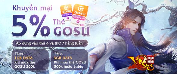 Tặng DATA kèm chiết khấu cực khủng khi mua thẻ GOSU tại Myviettel